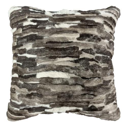 Fur Cushion Grey Patchwork Square gris Caresse Orylag 1