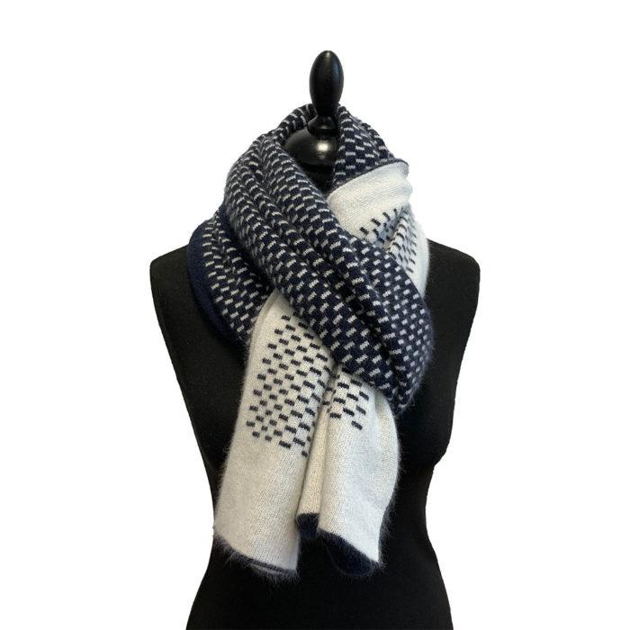 Knit Scarf bicolore pointillé Bleu Blanc Caresse Orylag