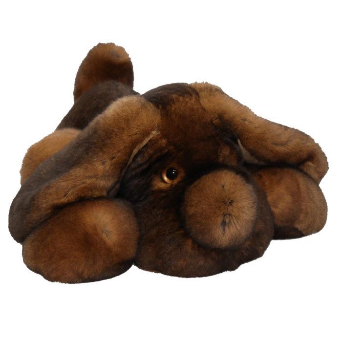 Peluche chien dormeur marron M Caresse Orylag 2