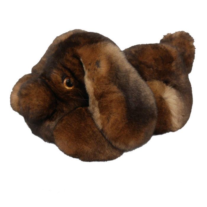 Peluche chien dormeur marron S Caresse Orylag 2