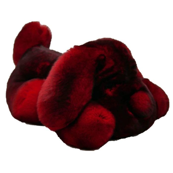Peluche chien dormeur blanc rouge S Caresse Orylag 2
