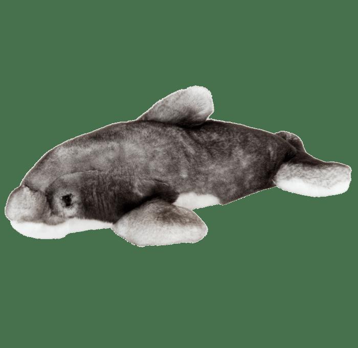 Peluche dauphin gris profil gauche
