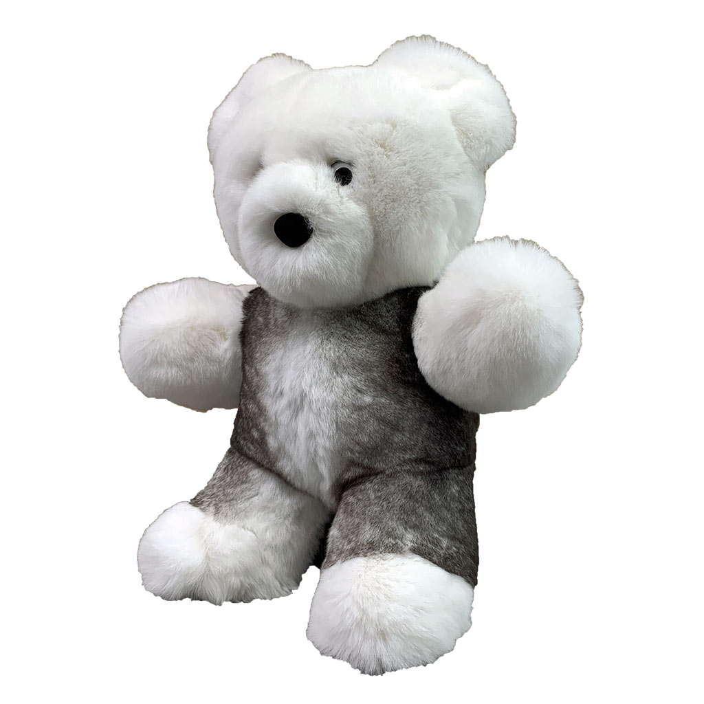 Peluche ours blanc et gris S Caresse Orylag 2
