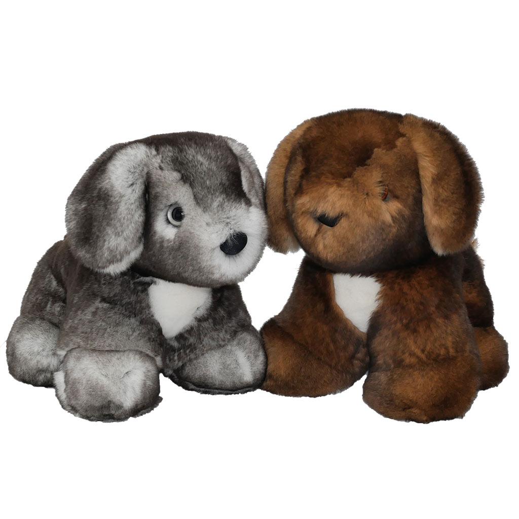 peluche chiot marron et gris caresse orylag