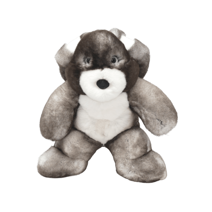 Rabbit soft toy gris taille s face Caresse Orylag
