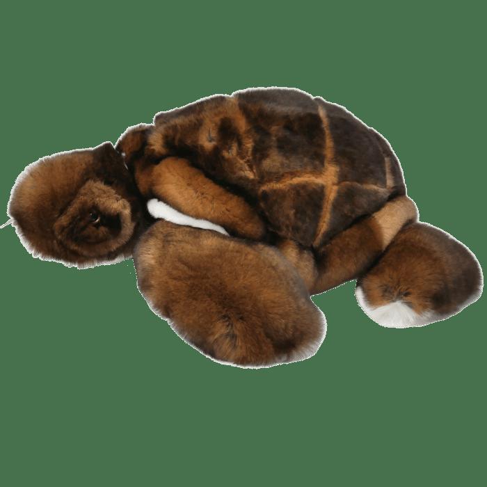 peluche tortue marron profil