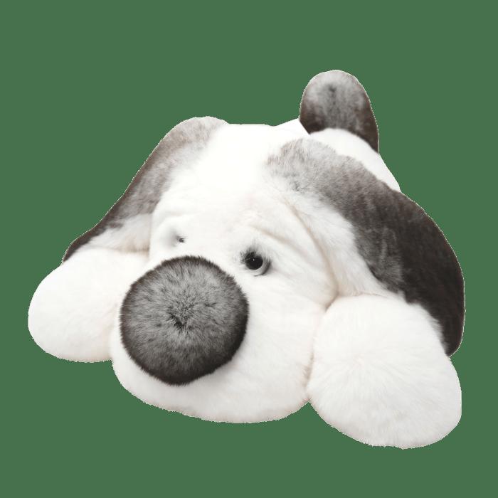 Peluche chien blanc et gris 30cm